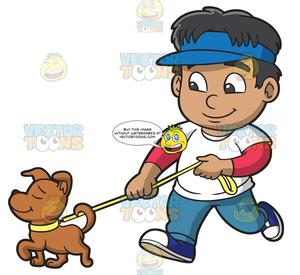 A Boy Walking A Dog.