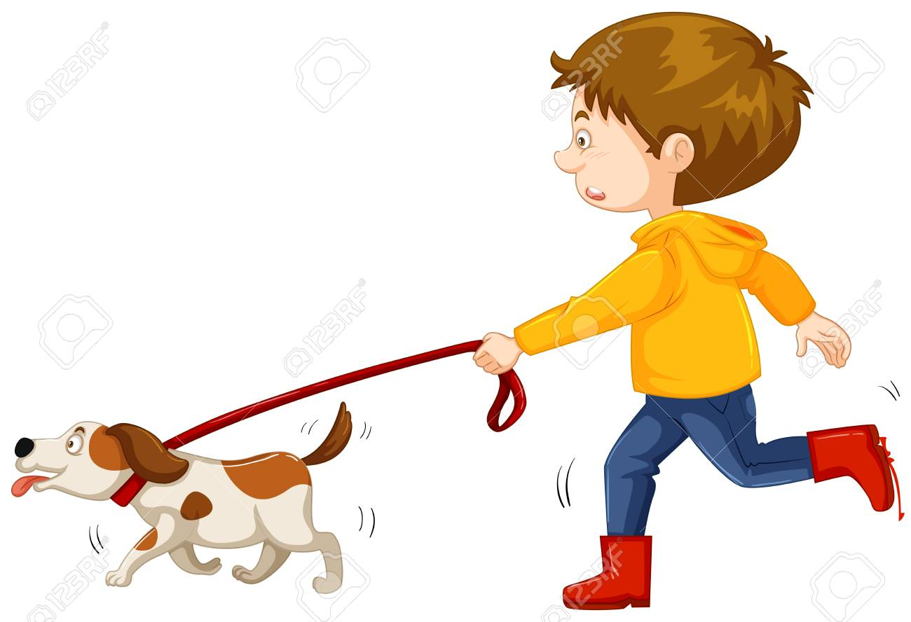 Little boy walking dog Vector illustration..