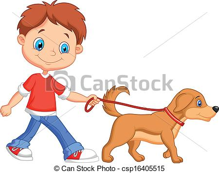 Cute cartoon boy walking with dog.