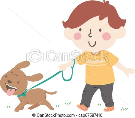 Kid Boy Walking Dog.