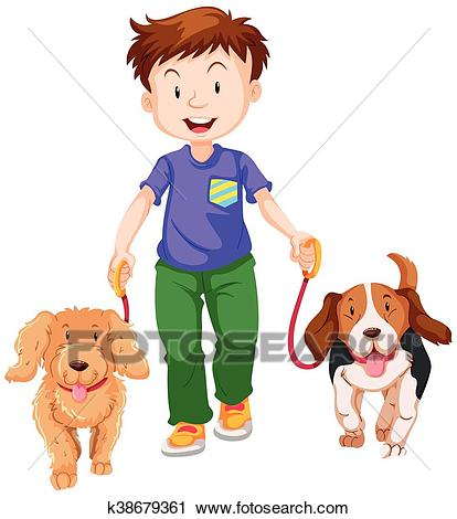Boy walking two dogs Clipart.