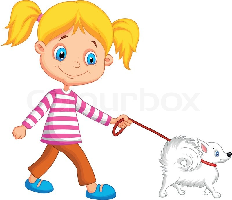 Cute cartoon girl walking with dog.