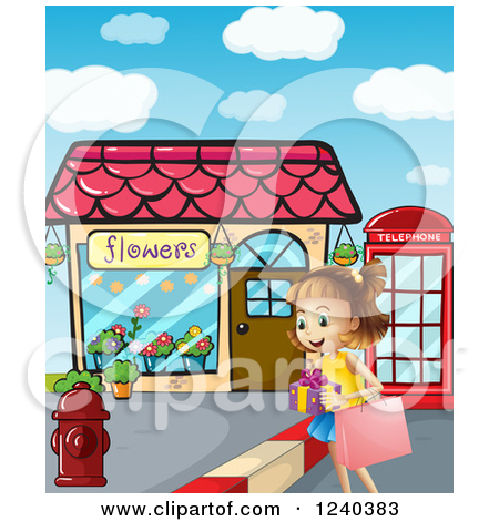 Boy Walking To Store Clipart.