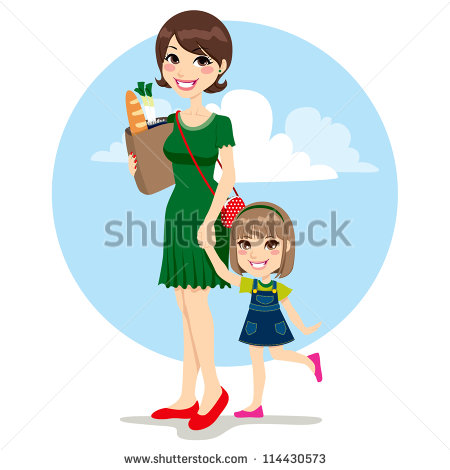 Sweet Mother And Cute Daughter Walking With Bag From Grocery Store.