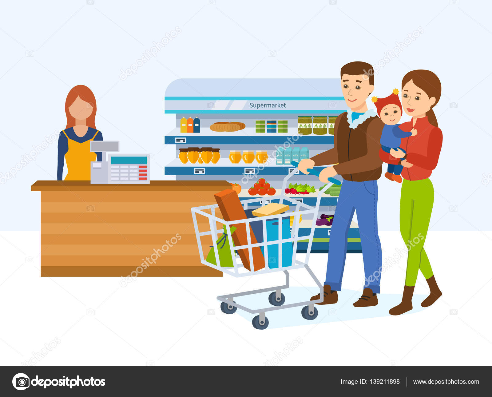 Family walking around the store and takes fresh food — Stock.