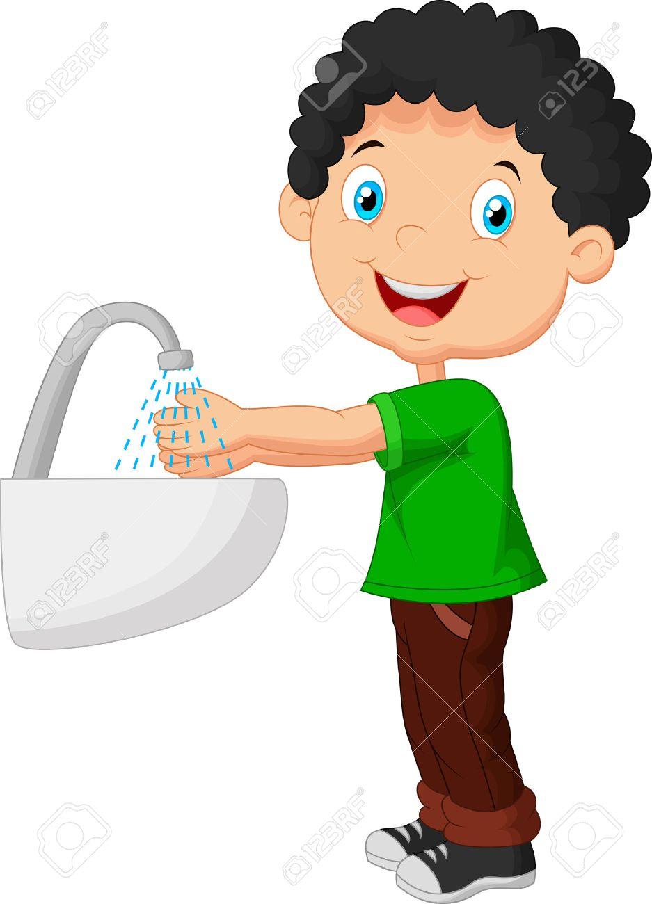 Cute cartoon boy washing his hands.