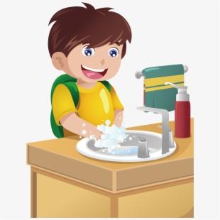 Boy Washing Hands Clip Art #1035326.