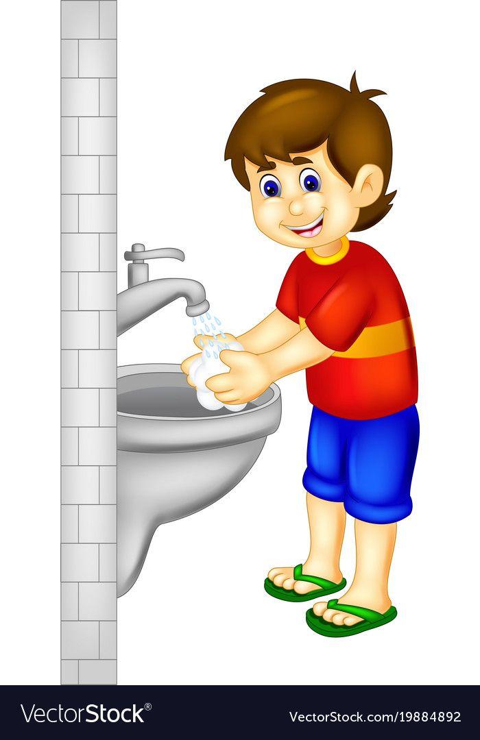 Handsoome boy cartoon stading with hand wash Vector Image.