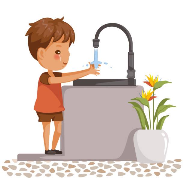 Best Boy Washing Hands Illustrations, Royalty.
