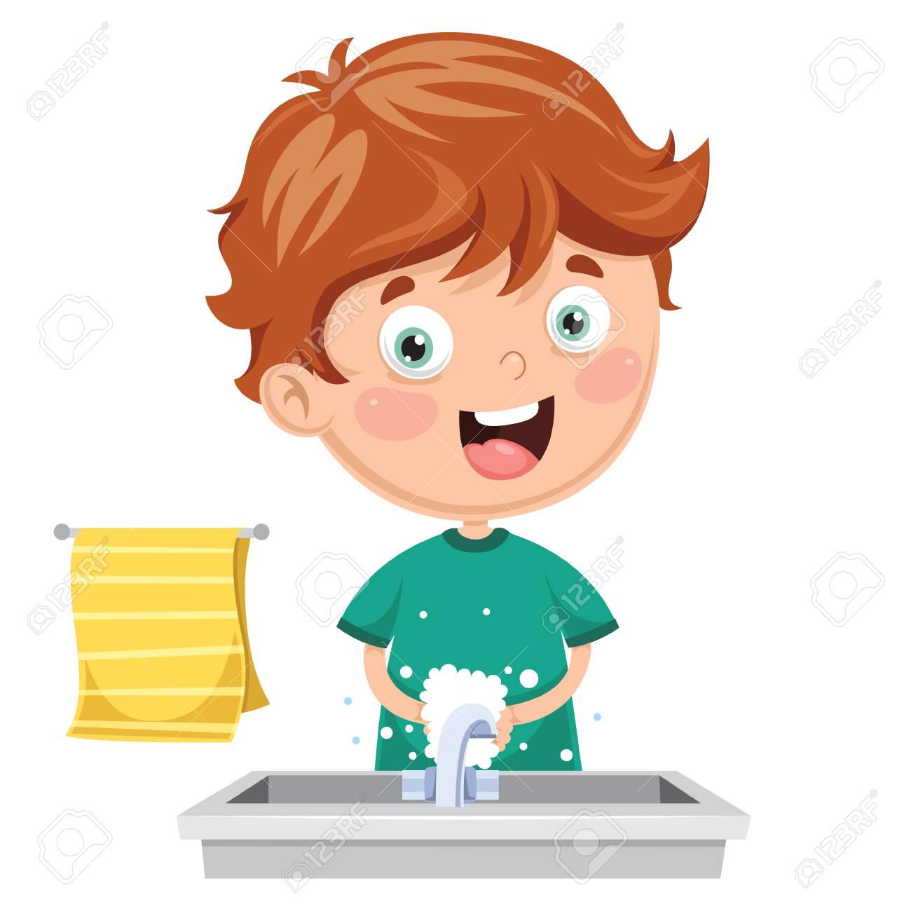 Vector Illustration Of Kid Washing Hands.