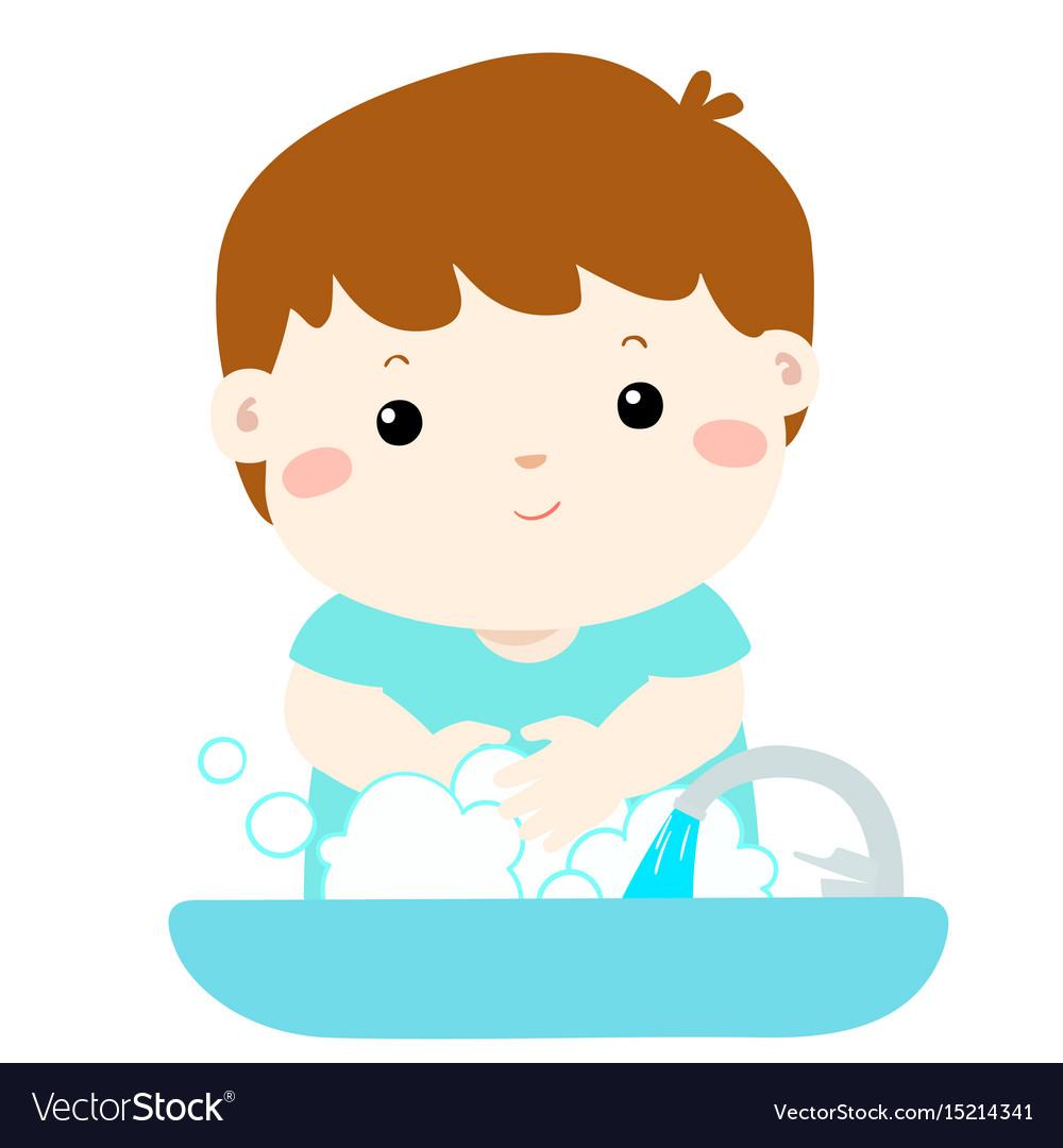 Cute boy washing hands in washbasin.