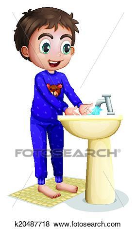 A boy washing his hands Clip Art.