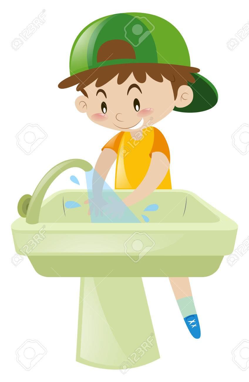 Boy washing hands in sink illustration.