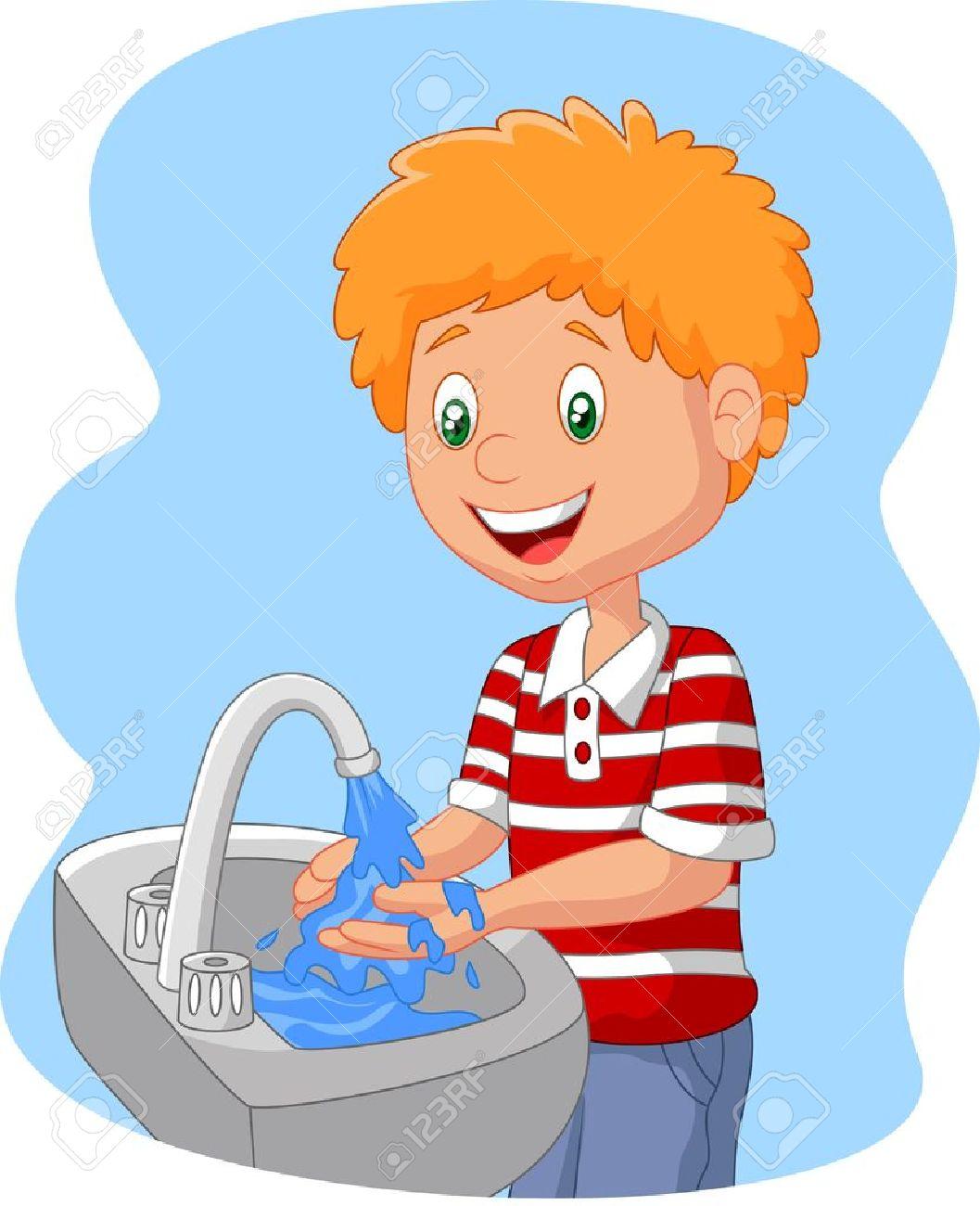 Cartoon boy washing hand.