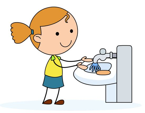 Girl Washing Hands Clipart.