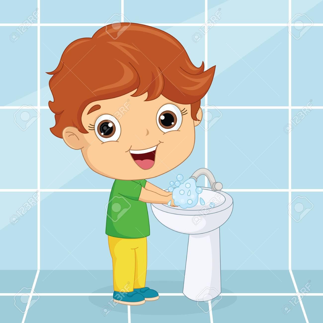 Vector Illustration Of A Kid Washing Hands.