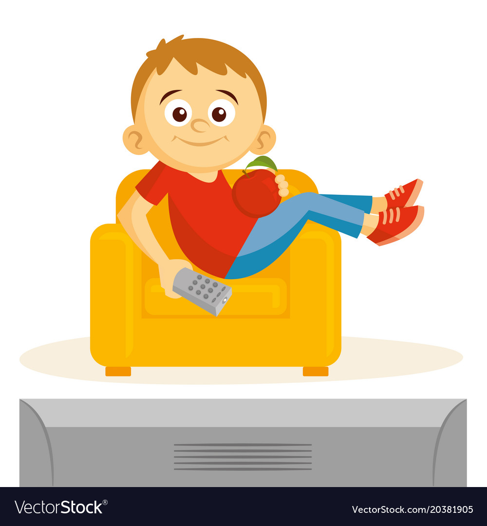 Boy is watching tv.