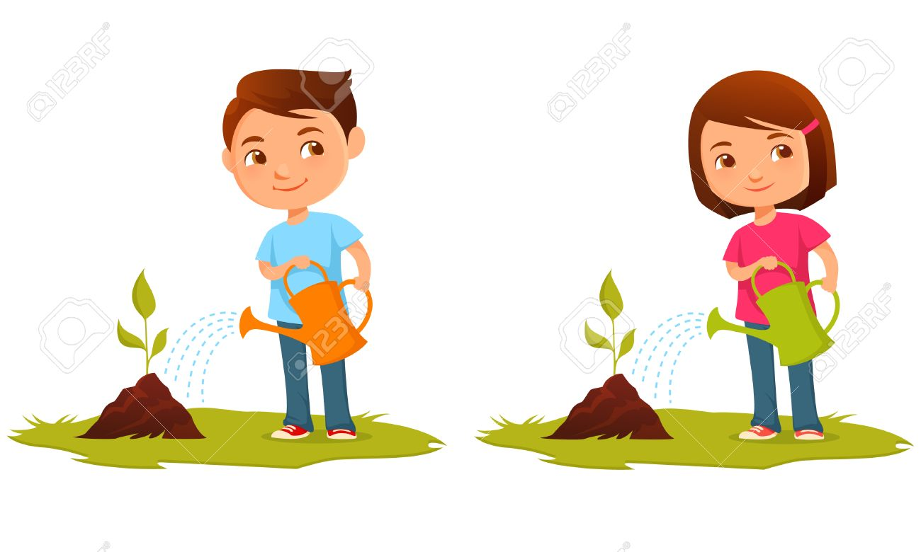 Child Watering Plants Clipart.