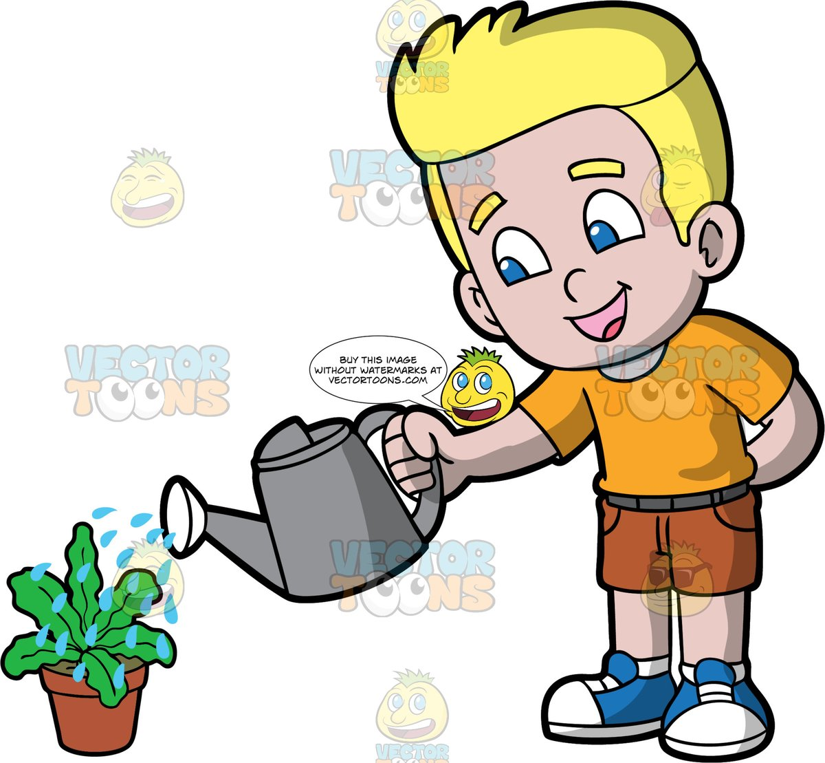 A Blonde Boy Watering A Potted Plant.