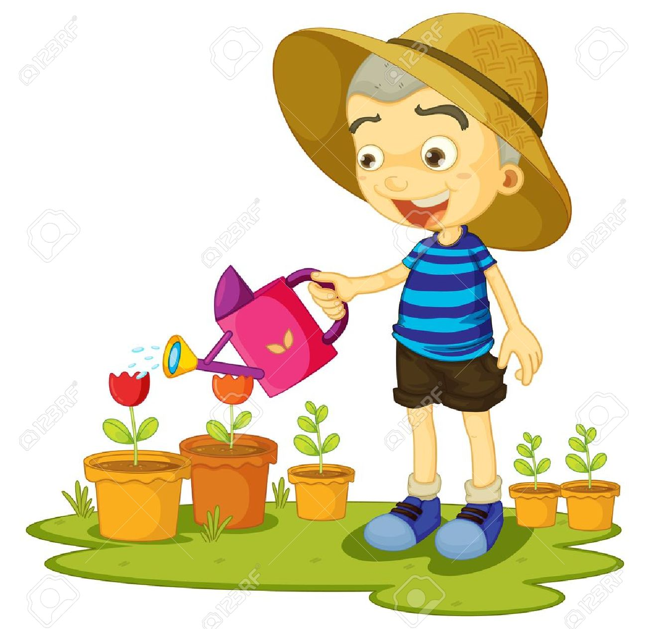 Boy watering plants clipart 10 » Clipart Station.