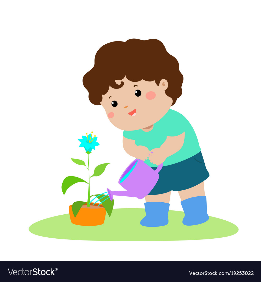 Cute cartoon boy watering plant.