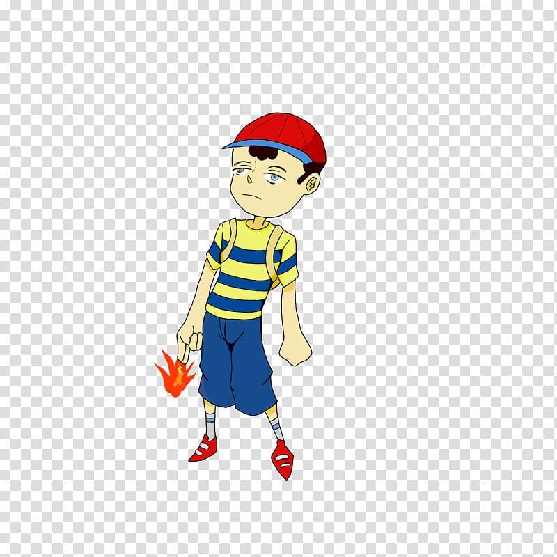 Ness new gen, boy wearing a red and blue cap illustration.