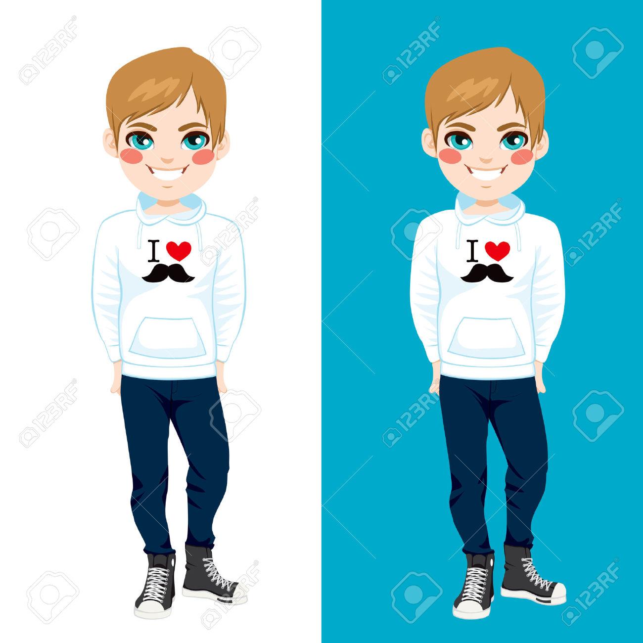 Teenager Boy Wearing White Sweatshirt With I Love Mustache Print.