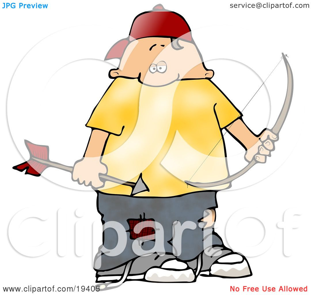 Clipart Illustration of a Chubby White Boy Wearing Patched Jeans.