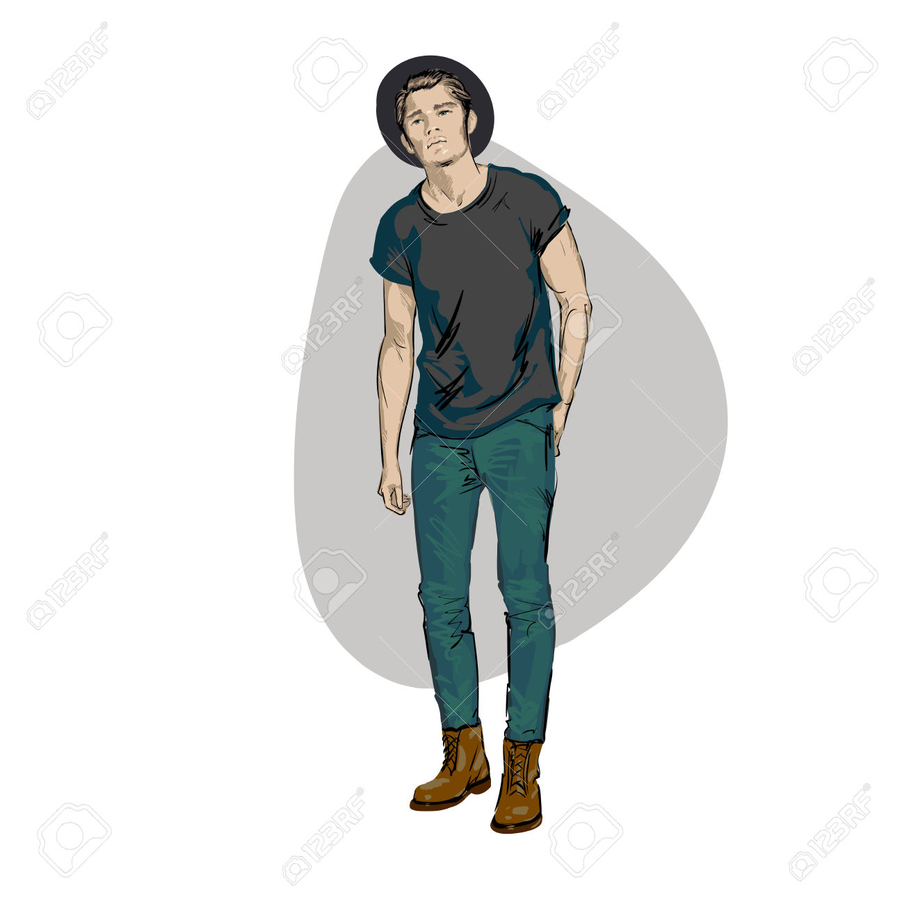 4,852 Wearing Jeans Cliparts, Stock Vector And Royalty Free.