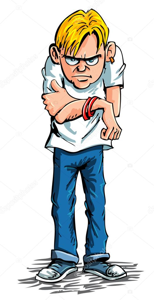 Cartoon sulky teenager wearing jeans and t shirt — Stock Vector.