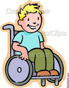 Little boy in a wheelchair Vector Clip art.
