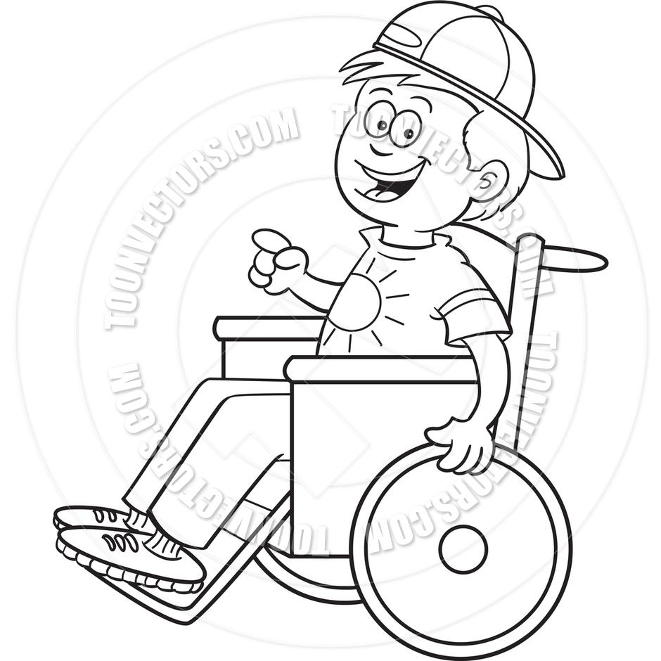 Cartoon Boy in a Wheelchair (Black and White Line Art) by.