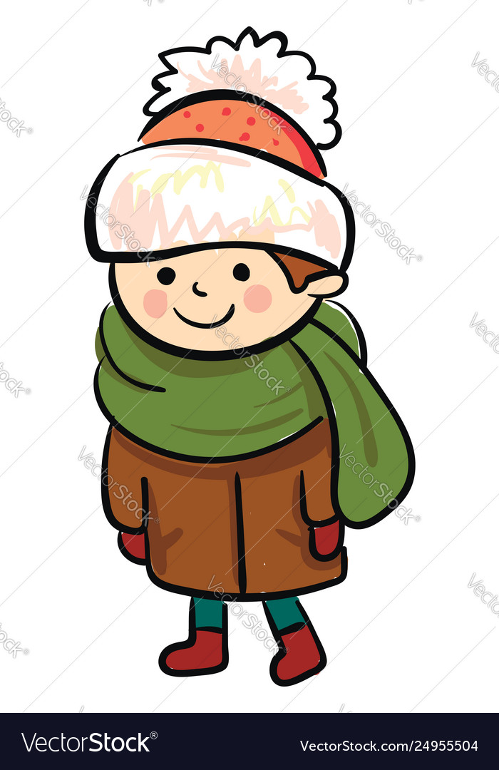 A little boy in winter clothes or color.
