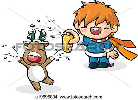 Drawings of deer, seasons, character, snow, winter u19596834.