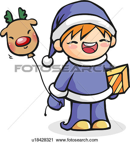 Clipart of present, deer, rein deer, balloon, winter u18428321.