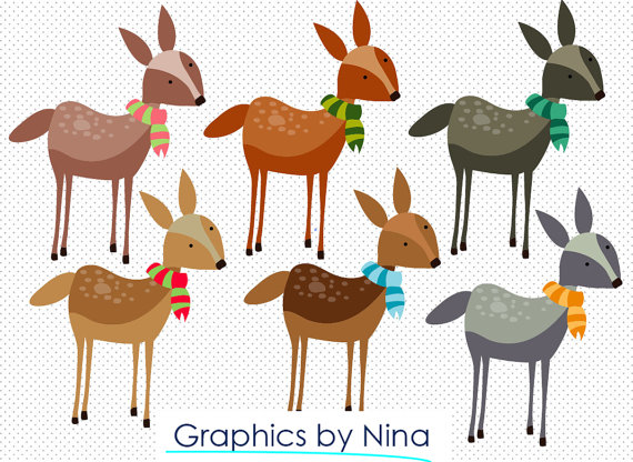 INSTANT DOWLOAD Winter Deer Clipart Scrapbook for Personal.
