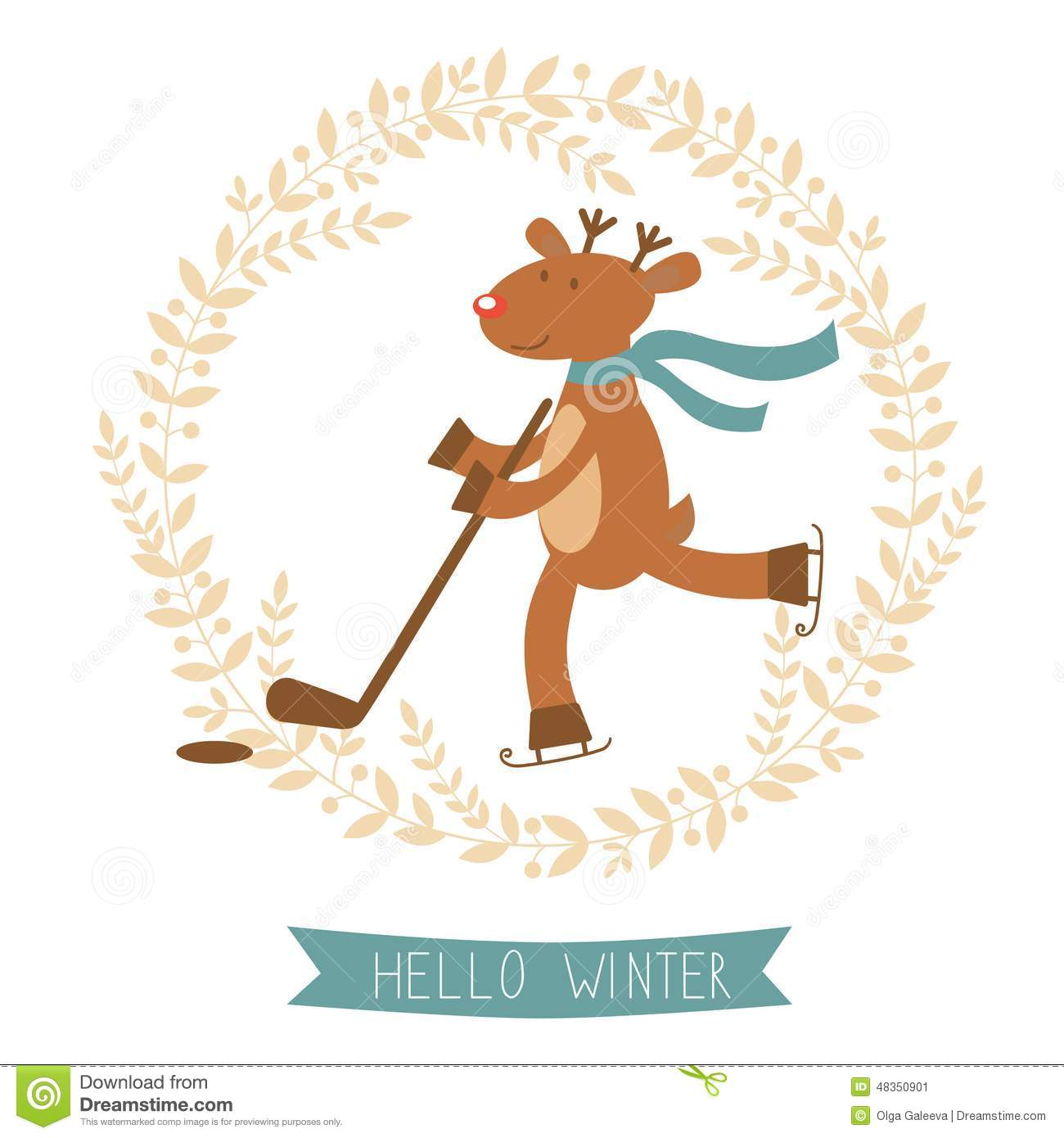 Hello Winter Card With Cute Deer Boy Ice Skating Stock Vector.