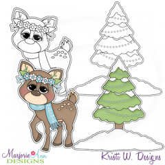 Boy winter deer clipart.