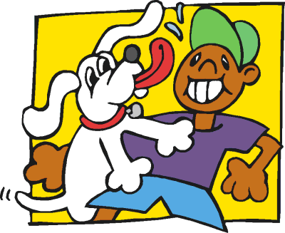 Boy With 2 Dogs Clipart Image.
