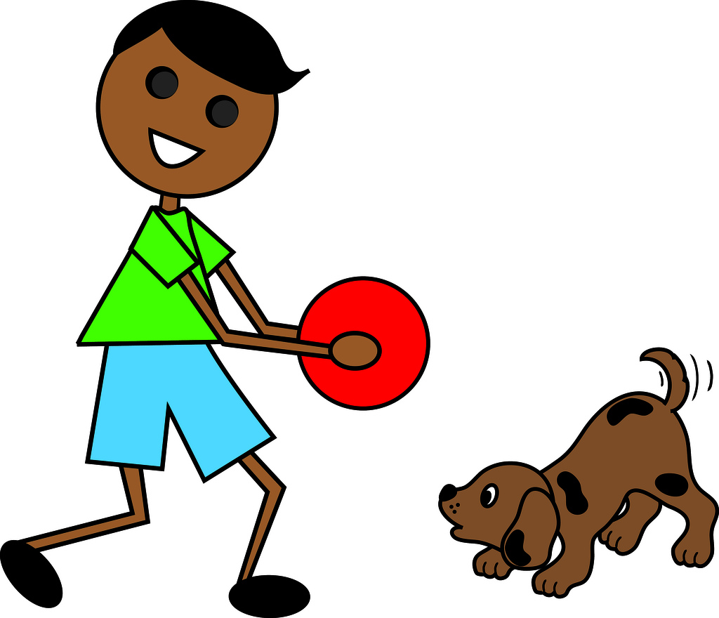 Showing post & media for Cartoon boy throwing ball for dog.