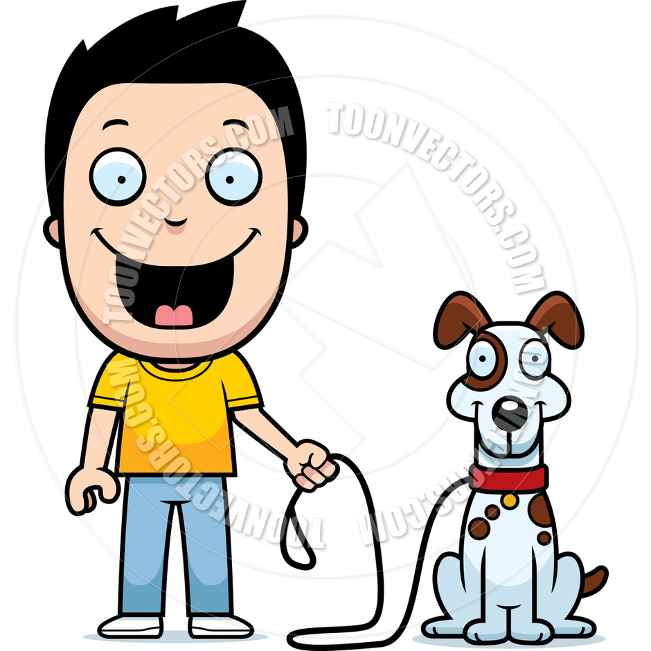 Showing post & media for Boy walking dog cartoon.
