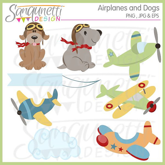 Dog Clipart, Puppy Clipart, airplane cliaprt, plane clipart, baby.