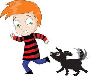 Showing post & media for Dog chasing boy cartoon.