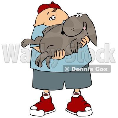 Showing post & media for Cartoon boy holding dog.