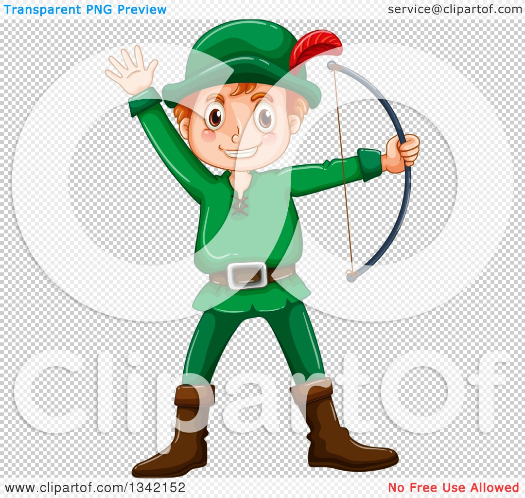 Clipart of a Red Haired White Archer Boy or Man Waving and Holding.