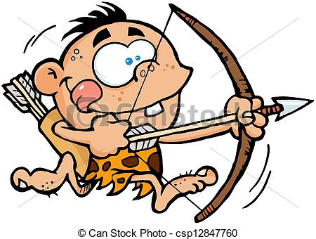 Clip Art Vector of Boy Running With Bow And Arrow.