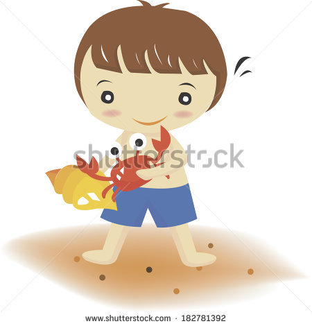 Boy Holding Crab Shell On Beach Stock Illustration 182781392.