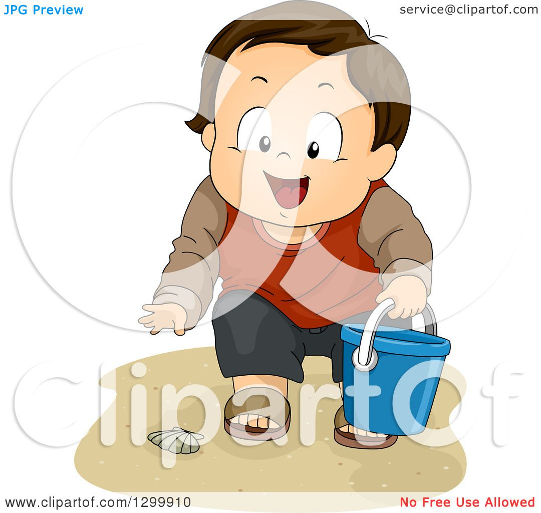 Clipart of a Brunette White Boy Collecting Sea Shells on a Beach.