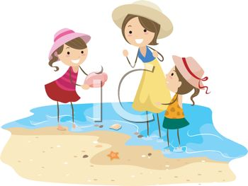 Clip Art Illustration of a Mother and Her Kids Collecting Shells.