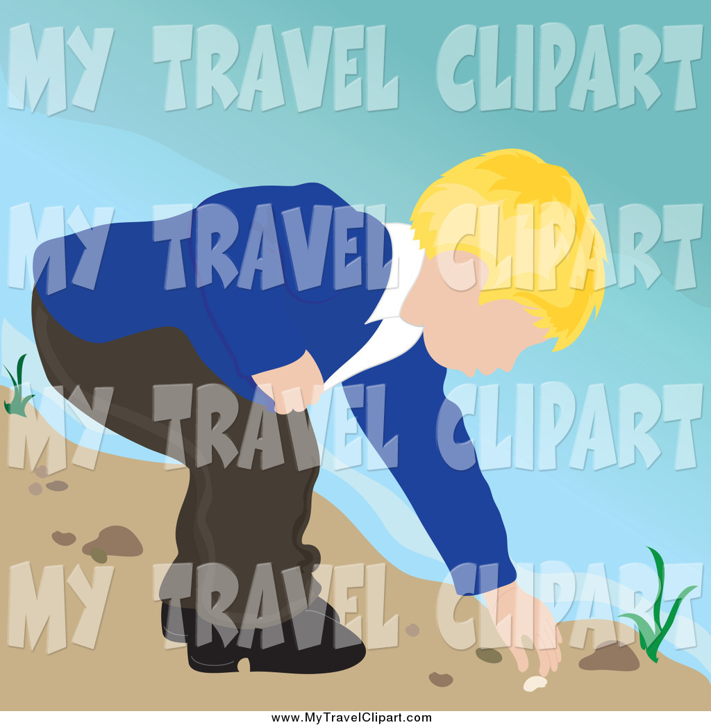 Boy With A Shell On The Beach Clipart.